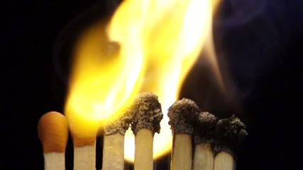 Lighting up a match heads in slowmotion