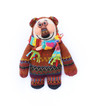 crochet brown bear on white background