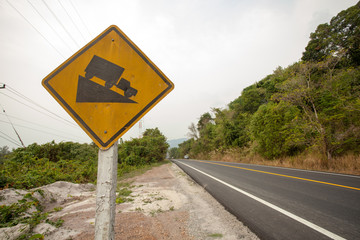 slope sign, yellow truck slope sign on highway, Thailand