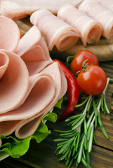 Fresh ham slices with lattuce and cherry tomato