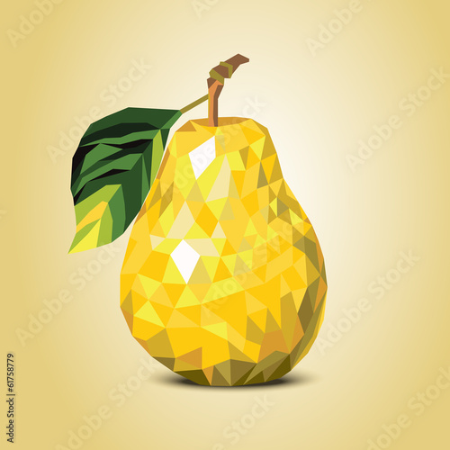 yellow mosaic pear on a beige background