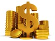 3D Dollar sign and golden coins on white