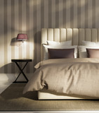 Fototapety Contemporary elegant luxury atmospheric bedroom with wallpaper