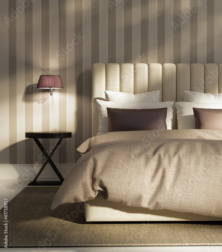 Contemporary elegant luxury atmospheric bedroom with wallpaper
