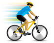 cyclist in blue jersey on yellow bicycle