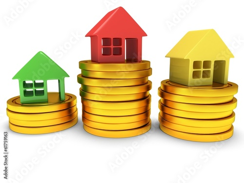 Colored houses one stack of coins. 3d render.