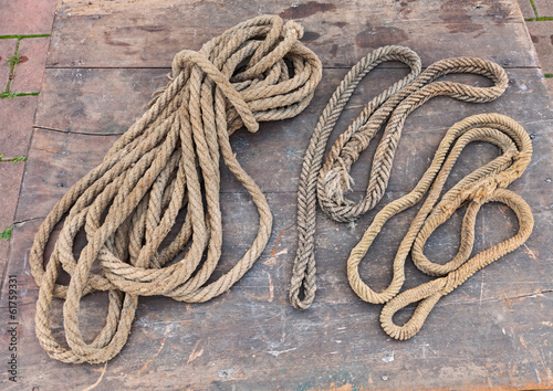 old ropes of hemp fiber