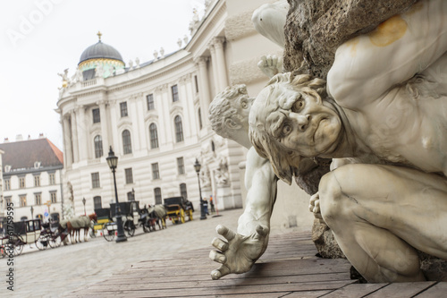 Power on Land fountain at Michaelerplatz in Vienna