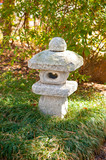 Japanese stone sculpture in a spring garden