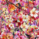 hand painted backgrounds with cherry and plums flowers