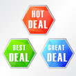hot deal, three colors hexagons web icons