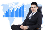 Businessman with business growth chart