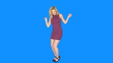 sexy blonde woman dancing on blue