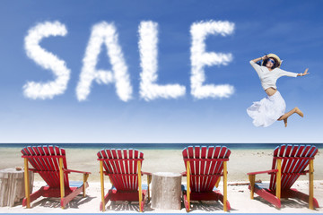 Girl and sale cloud jumping over beach chairs