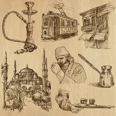 TURKEY_3. Collection of hand drawn illustrations into vector
