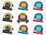 Color anniversary sign collection, retro design, vector