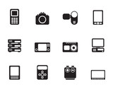 Silhouette technical, media and electronics icons