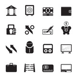 Silhouette Bank, business and finance icons