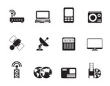 Silhouette Business, technology  communications icons