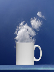 Coffee cup against the Cloud as Steam Concept