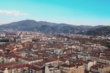 Panoramic view to Superga hill, Torino city