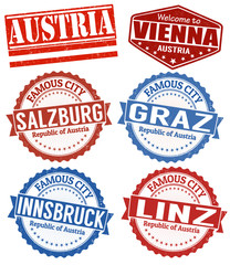 Austria cities stamps set