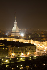 Night view of Turin town square