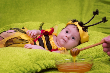 Honey Bee Baby on green background