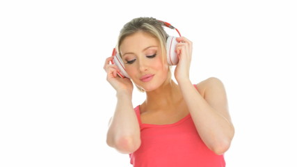 happy blonde woman enjoying the music