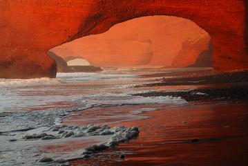 Legzira stone arches, Atlantic Ocean, Morocco, Africa