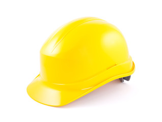 Yellow helmet isolated on white with clipping path