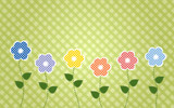 polka dot flowers with stiched leaves
