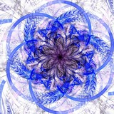 Blue fractal flower pattern