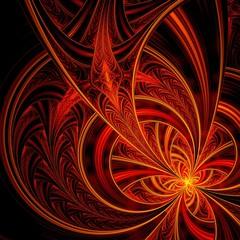Red fractal flower pattern
