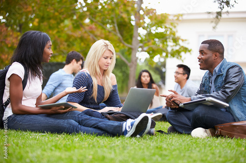 Group Of University Students Working Outside Together