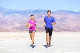 Fitness sport couple running jogging - 61766189