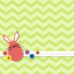 Easter bunny with chevron background