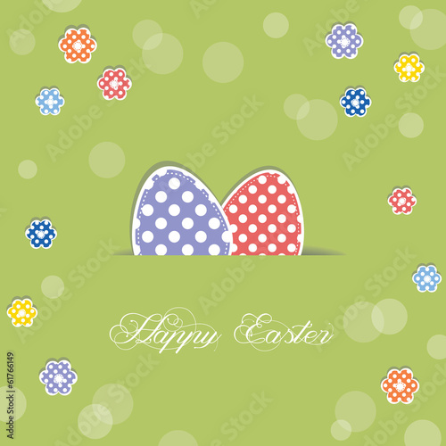 easter eggs sticking out of paper