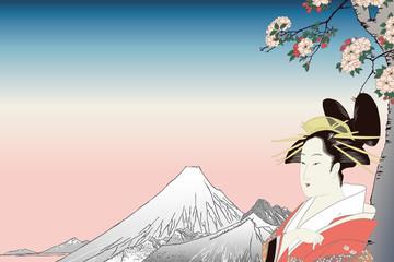 歌川広重 鳥高斎栄昌 富士と桜と美人のイメージ
