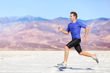 Man running outdoor sprinting for success