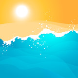 Bright vector illustration with waves and the sun