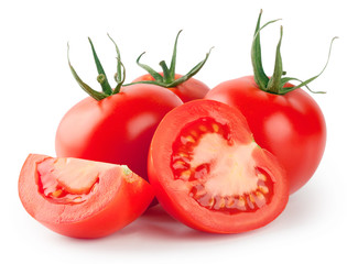 Whole and sliced red tomatoes
