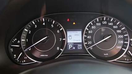 Close-up view of speedometer showing self-test routine, HD 1080p