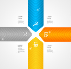 Modern glossy infographics options arrow banner