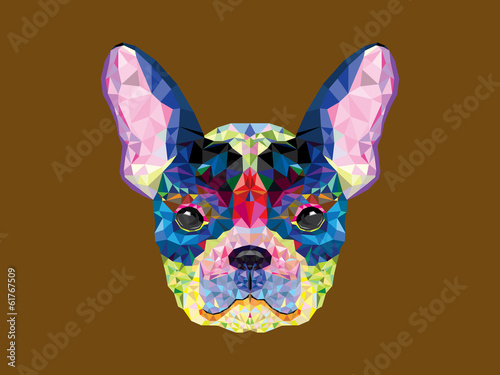 French bulldog head in geometric pattern