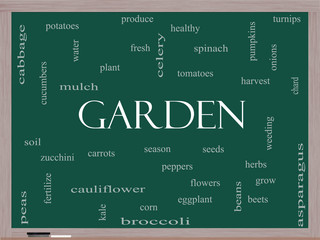 Garden Word Cloud Concept on a Blackboard