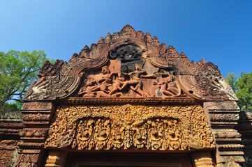 Beautiful detail of Banteay Srei Temple, Angkor in  Cambodia