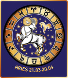 Aries zodiac sign.Horoscope circle.Retro Illustration