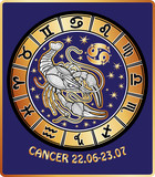 Cancer zodiac sign.Horoscope circle.Retro Illustration