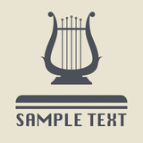 Lyre icon or sign, vector illustration